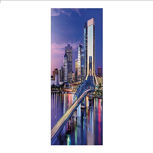 3D Decorative Film Privacy Window Film No Glue,United States,Urban Cityscape Bridge Office Buildings Jacksonville Florida,Violet Blue Light Pink Tan,for Home&Office ()