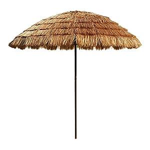 Delightful Le Papillon 8 Foot Tiki Hawaiian Patio Umbrella Thatched Umbrella With  Fiberglass Ribs