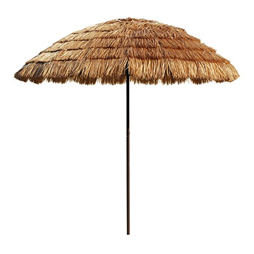 Le Papillon 8-Foot Tiki Hawaiian Patio Umbrella Thatched Umbrella with Fiberglass Ribs 8' Patio Umbrella