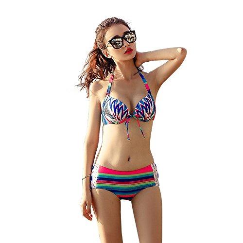 Sources De Bleu Poitrine Une Aux Dans Jaune Bain Sadvfg Mince L Était Taille Chaudes Maillot Le Réunis Petite Bikini Trois Sexy couleur Pièces Ventre xqwFaFgfO