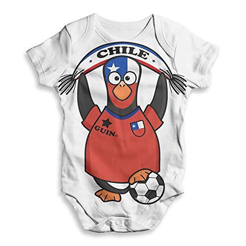 TWISTED ENVY Funny Infant Baby Bodysuit Onesie Chile Guin Penguin Soccer Fan White 3-6 Months ()