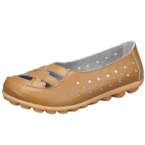 Vogstyle Women's New Leather Loafers Moccasins Flats Sandals Slip ONS Style 2-Khaki