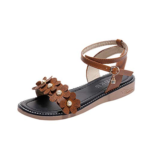 Respctful✿ Women's Causal Peep Toe Ankle Strap Sandals Boho Rhinestone Slip On Sandals Shoes Brown for $<!--$8.68-->