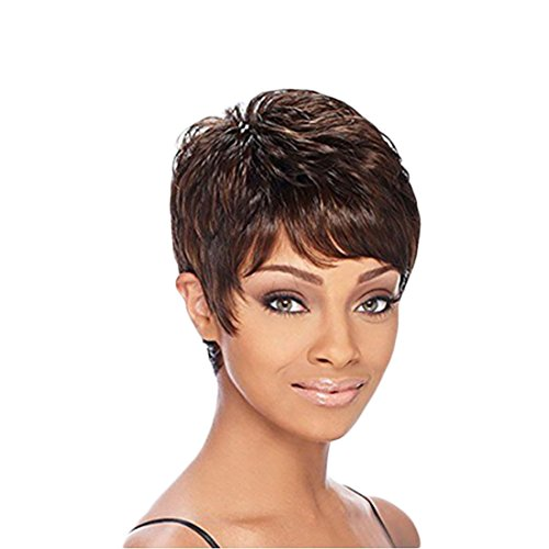 - YYF Inclined Bang Short Straight Wigs for Women Stylish Mix Full Hair Wigs Synthetic Heat Resistant Wigs for Black Women