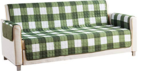 Quick Fit Checkered Printed Reversible Waterproof Slipcover for Sofa Couch Cover, Sage