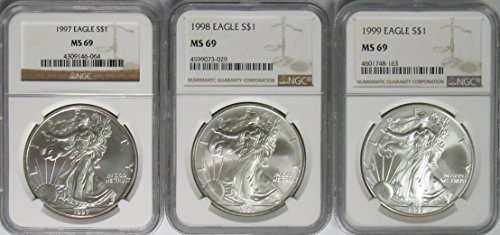 1997-1999 American Silver Eagle 3 Coin Set MS-69 ()