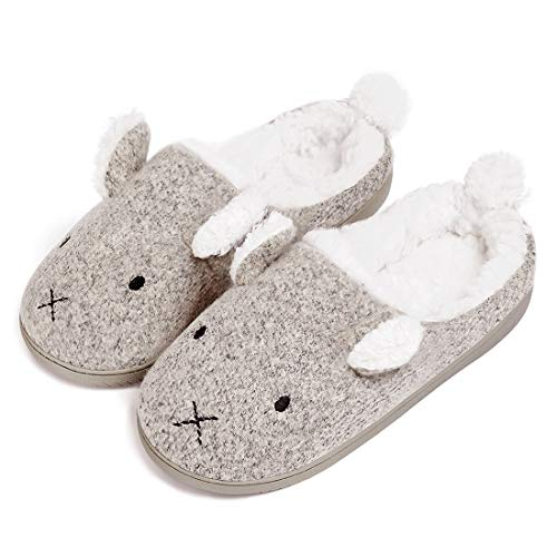 Neeseelily Women Comfort Plush Cozy Home Slippers (6.5-7 B(M) US, Grey)