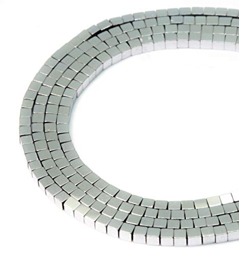 BRCbeads Hematite beads Cube 2x2mm (silver) ()