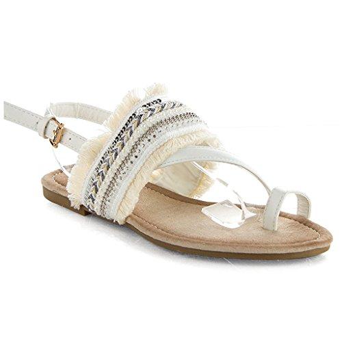 Women's Ankle Strap Woven Fringe Denim Jeweled Decor EthnicToe Ring Flat Sandals White 8