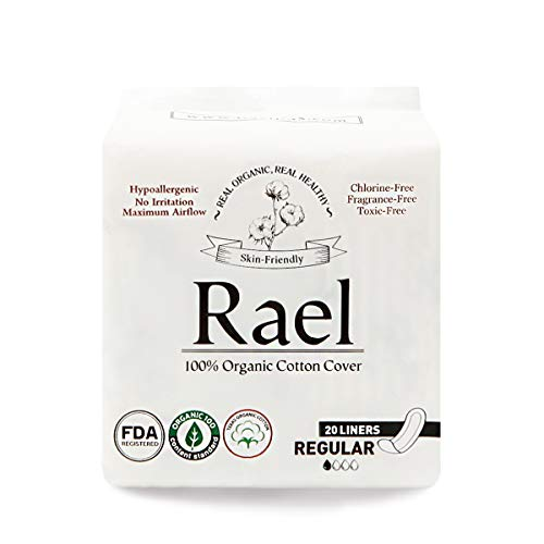 - Rael Certified Organic Cotton Panty Liners, Regular - 2Pack/40 total - Unscented Pantiliners - Natural Daily Pantyliners (2 Pack)