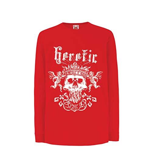 lepni.me Boys/Girls T-Shirt Heretic King Skull - Crown of Glory, Skeleton Face (9-11 Years Red Multi by lepni.me