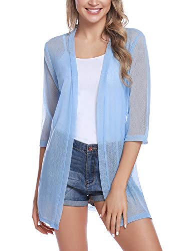- iClosam Women Casual 3/4 Sleeve Sheer Open Front Cardigan Sweater (Light Blue, Medium)