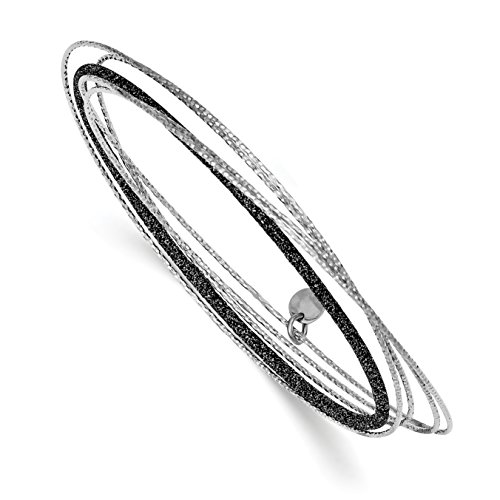 ICE CARATS 925 Sterling Silver Black Glitter Enamel Bangle Bracelet Cuff Expandable Stackable Slip On Fine Jewelry Gift Set For Women Heart by ICE CARATS