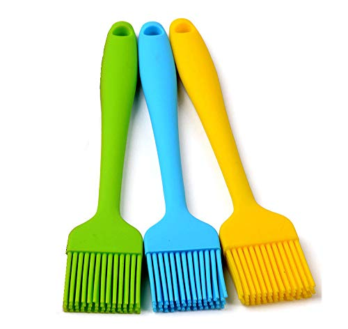 Heat Resistant Silicone Basting Pastry Brushes, Assorted Colors, 8.4-Inch, Set of 3 -