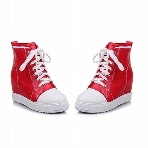 Carolbar Womens Lace-up Blandade Färger Plattform Dold Klack Mode Sneakers Stövlar Rött