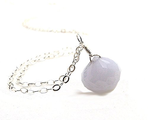 Chalcedony Drop Pendant - Blue Chalcedony Gemstone Faceted Onion Briolette Teardrop Pendant Necklace on 18 Inch Sterling Silver Chain