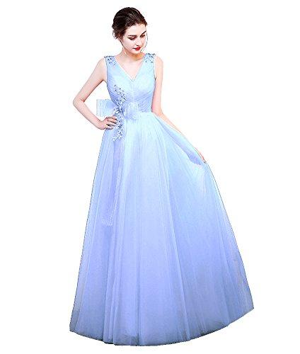 Long Dresses Sleeveless Bridesmaid Simple Light Blue Bowknot Emily Tulle Beauty Evening q5gFHW