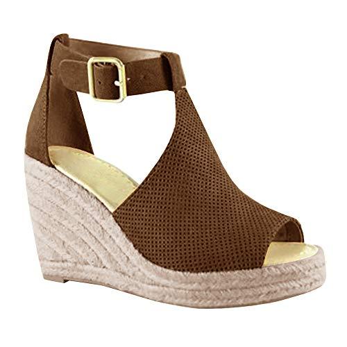 Syktkmx Womens Platform Wedge Sandals Suede Peep-Toe Strap Buckle Mid Heel Espadrille (Womens Brown Espadrille)