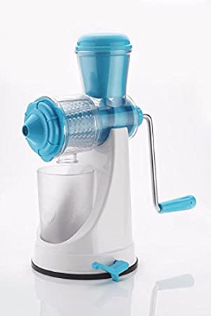 Kitchen Bazaar Deluxe Juicer Mixer Grinder with Steel Handle and Pusher (White/Blue)
