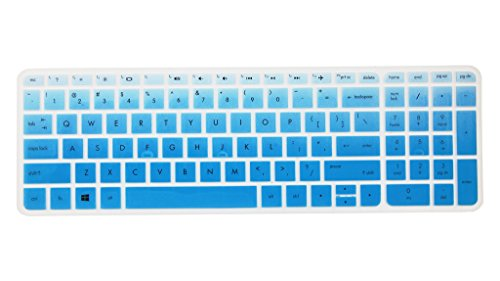 Leze - Ultra Thin Silicone Keyboard Cover Skin Protector for 15.6 Inch HP ENVY X360 m6-w,ENVY m7-n,m7-u,Pavilion 15-ab 15-ac 15-af 15-as 15-au 15-ay 15-ak 15t-ae 15-ba 15-bc Semi - Gradual Blue