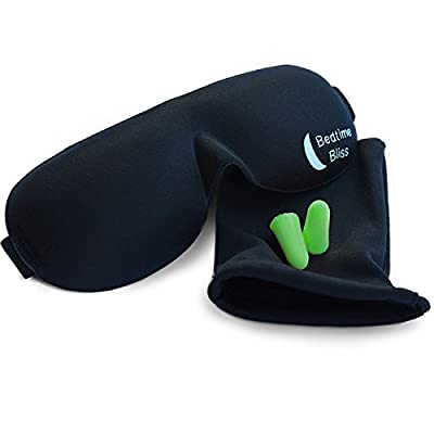 Sleep Mask by Bedtime Bliss® - Contoured & Comfortable With Moldex® Ear Plug Set. Includes Carry Pouch for Eye Mask and Ear Plugs - Great for Travel, Shift Work & Meditation