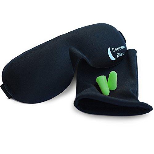 Bedtime Bliss® Контурные и Удобная маска сна и уха штепселем. Включает в себя чехол для маска для глаз и беруши - отличный вариант для путешествия, сменная работа & Медитация