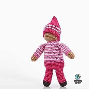 Pebble | Handmade Pixie Rattle - Rose - Pink | Crochet | Fair Trade | Pretend | Imaginative Play | Montessori | Machine Washable