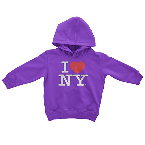 Ny Kids Hoodie - I Love NY New York Kids Hoodie Screen Print Heart Sweatshirt Purple Large (14...
