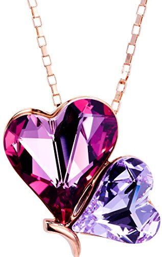 """Rose Gold Plated Pink & Purple Heart Butterfly Pendant Necklace Made with Crystals from Swarovski, 17"""""""