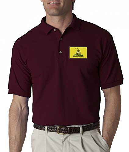 Don't Tread On Me Gun Laws 2nd Amendment Embroidered Polo Shirt S-3XL - Maroon - 3XL