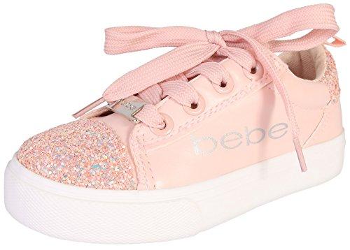 bebe Girls Low Top Glitter Lace Up Sneaker, Blush, 2-3 M US Little - Flat Kids Top