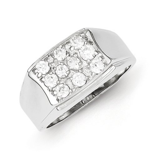 icecarats 925 sterling silver mens cubic zirconia cz band