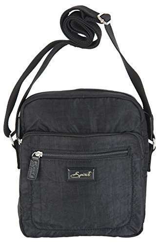 Spirit MEDIUM TRAVEL CROSSBODY ORGANISER SHOULDER TOP ZIP HANDBAG BAG STYLE 5766 Black