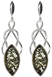 Black Green Amber Sterling Silver Marquise-shaped Celtic Earrings