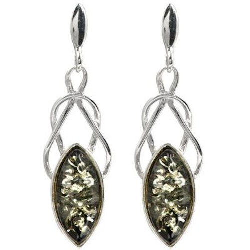 Black Green Amber Sterling Silver Marquise-shaped Celtic (Silver Green Amber Earrings)