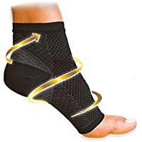 Ehdching 1 Pair Open Toe Ankle Brace Compression Socks Foot Angel Ankle Sleeve Anti Fatigue Swelling Relief Socks Great Men Women For Running,Biking,Travel (L/XL, Black)