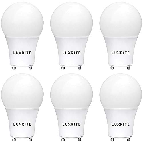 (Luxrite GU24 LED A19 Light Bulb, 60W Equivalent, 2700K Soft White, Dimmable, 800 Lumens, LED GU24 Bulb, 9W, Enclosed Fixture Rated, UL Listed, Perfect for Ceiling Fans and Outdoor Fixtures (6 Pack))