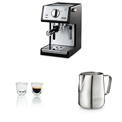 "De'Longhi ECP3420 15"" Bar Pump Espresso and Cappuccino Machine With Glasses And Stainless Steel Milk Frothing Jug"