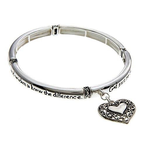 PammyJ Silvertone Detailed Heart Charm Serenity Prayer Stretch Bracelet (Heart Prayer Serenity)
