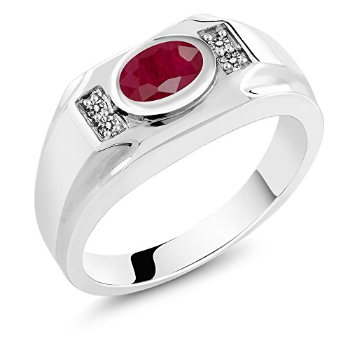 2.02 Ct Oval Red Ruby & White Diamond 925 Sterling Silver Men's Ring (Ring Size 9) (Ring Diamond Ruby Mens)