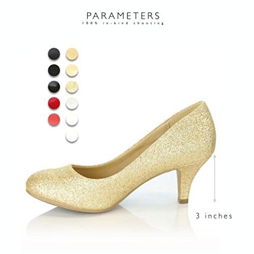 Daily Shoe Mujeres Cómodo Elegante Alta Acolchado Casual Tacones Bajos Formal Oficina Señora Punta Redonda Bombas De Tacón De Aguja Zapatos Oro Gl