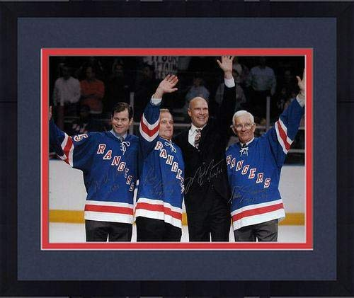 Framed Mark Messier/Mike Richter/Eddie Giacomin/Rod Gilbert Multi Signed Wave to the Crowd Horizontal 16x20 Photo w/