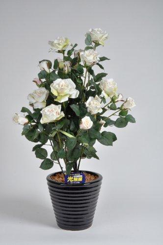 国内生産で安心の光触媒ばら(バラ薔薇)1本立 白(ホワイト)光触媒とアミノ酸のダブルコーティング 消臭力と抗菌力を発揮するアートフラワー(造花) B004P0C1BW
