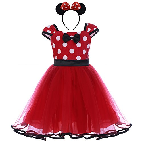 IWEMEK Toddler Girl Princess Polka Dots Christmas Birthday Costume Bowknot Ballet Leotard Tutu Dress up+3D Mouse Ear Headband, Red & Black, 2-3 Years