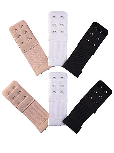 - eBoot 6 Pieces Women's Bra Extender Bra Extension Strap (Multicolors, 3 Rows 2 Hooks)