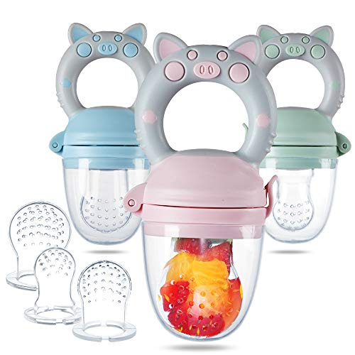 Eco inspired Baby Feeder - Baby Fresh Food Feeder & Teething Fruit Pacifier for Teething Baby with Different Size of Silicone Pouch and Dust Caps 3 Pack