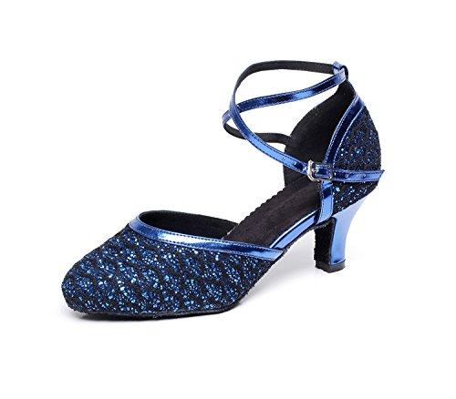Minishion TQJ7058 Womens Low Heel Glitter Tango Latin Ballroom Dance Pumps Shoes Blue EOOPJGde
