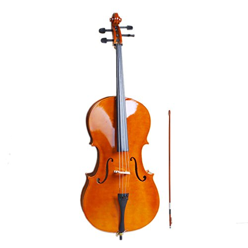 LYKOS 4/4 Acoustic Cello + Case + Bow + Rosin Wood Color Beautiful Varnish Finishing (Natural color)