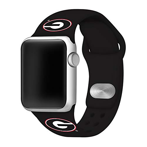 Affinity Bands Georgia Bulldogs Black Silicone Sport Band Compatible with Apple Watch - Band ONLY (38mm/40mm Black)
