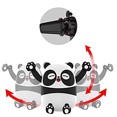 Taoke Panda Car Phone Mount Holder, Cartoon Air Vent Vehicle Mount Cradle Holder Compatible with 4.0-6.5 inch Cellphones-Pink